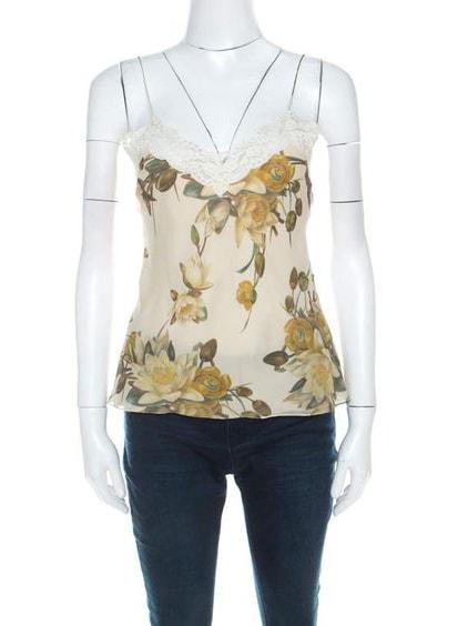 Christian Dior Beige Floral Silk Lace Trim Camisole Top M