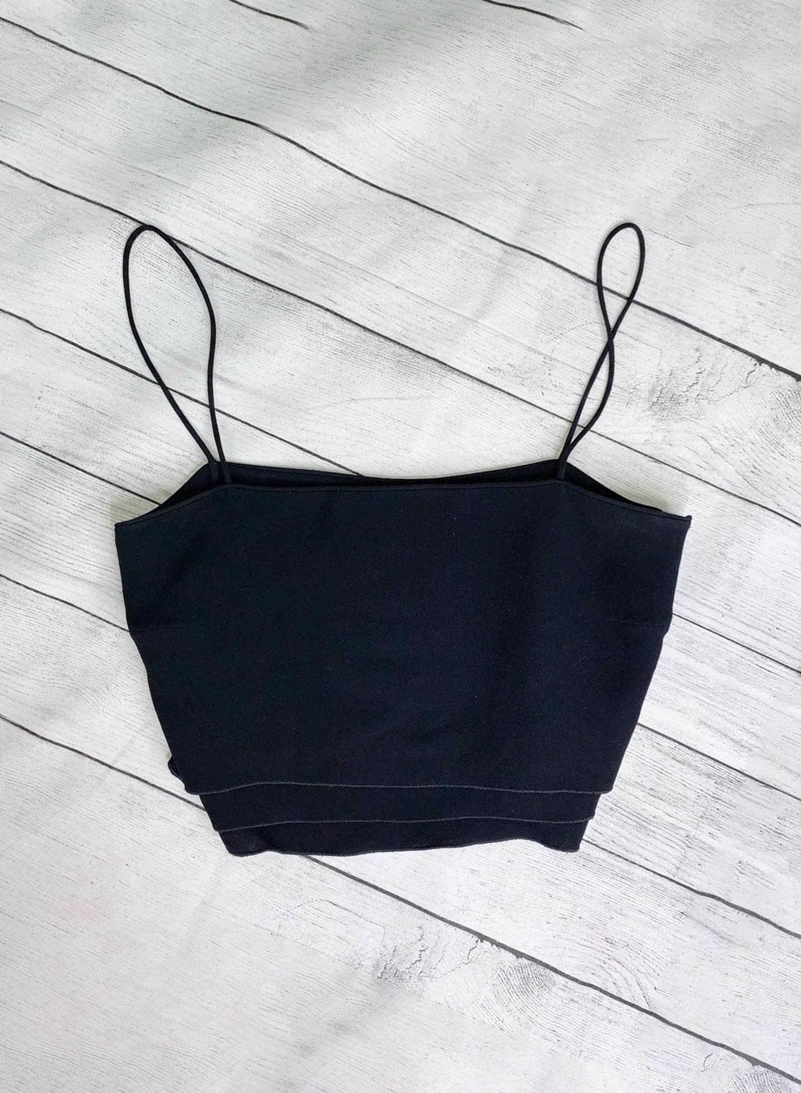 Giorgio Armani Vestimenta Spa Vintage Black Label Silk Crop Top Cami EU 40 Med