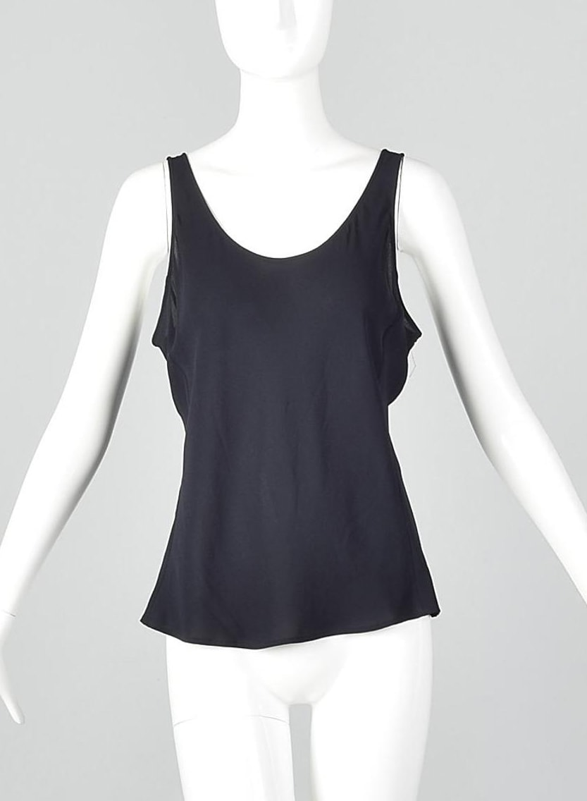 Large Giorgio Armani Sheer Silk Tank Top Lightweight Navy Sleeveless Vintage 1990s Shell Shirt
