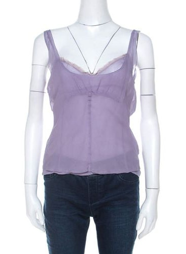 Miu Miu Lavender Chiffon Silk Lace Trim Scoop Neck Camisole Top M