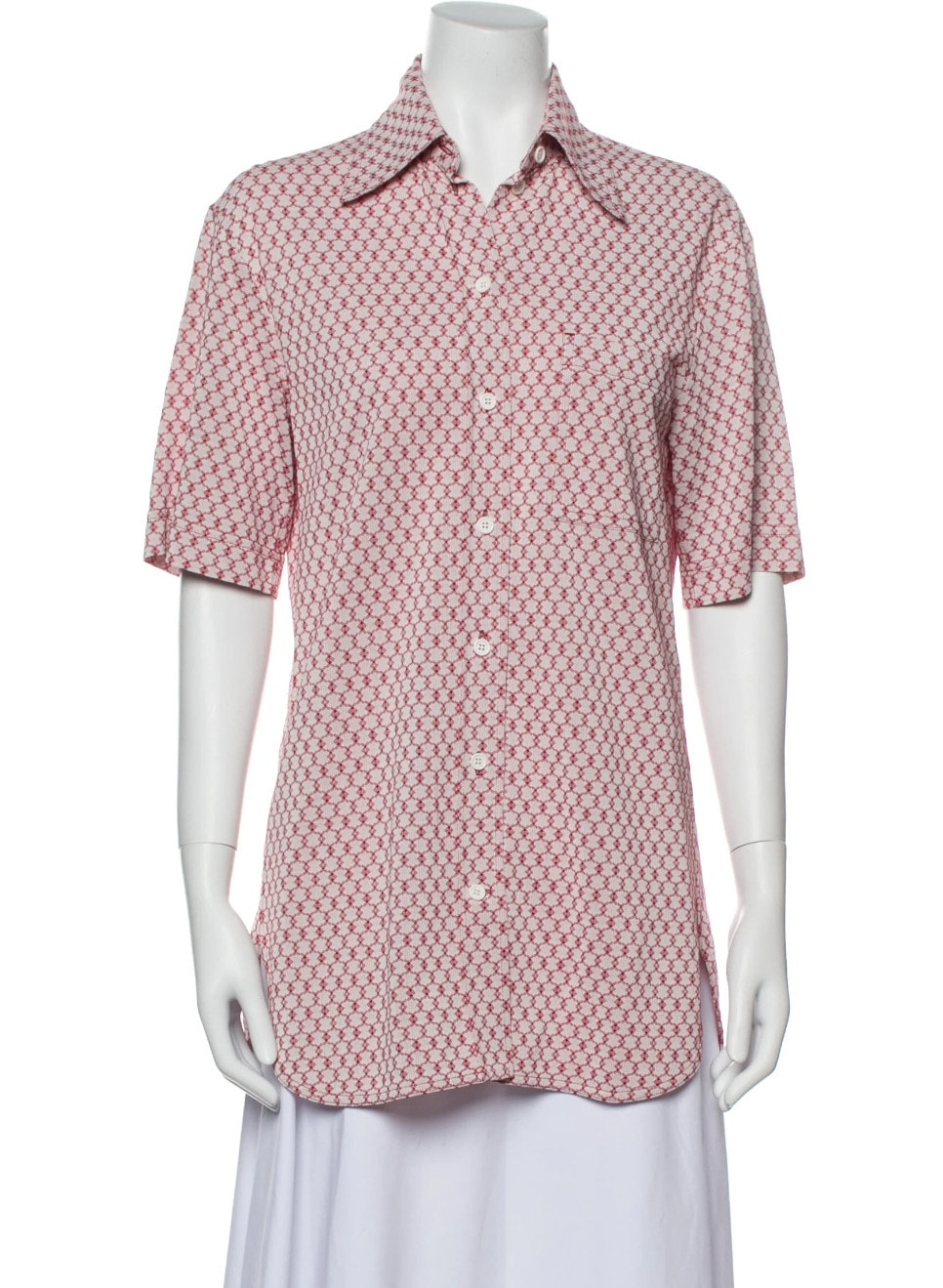 Printed Short Sleeve Button-Up Top