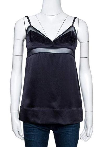 Stella McCartney Black Silk Satin Lace Trim Camisole Top S