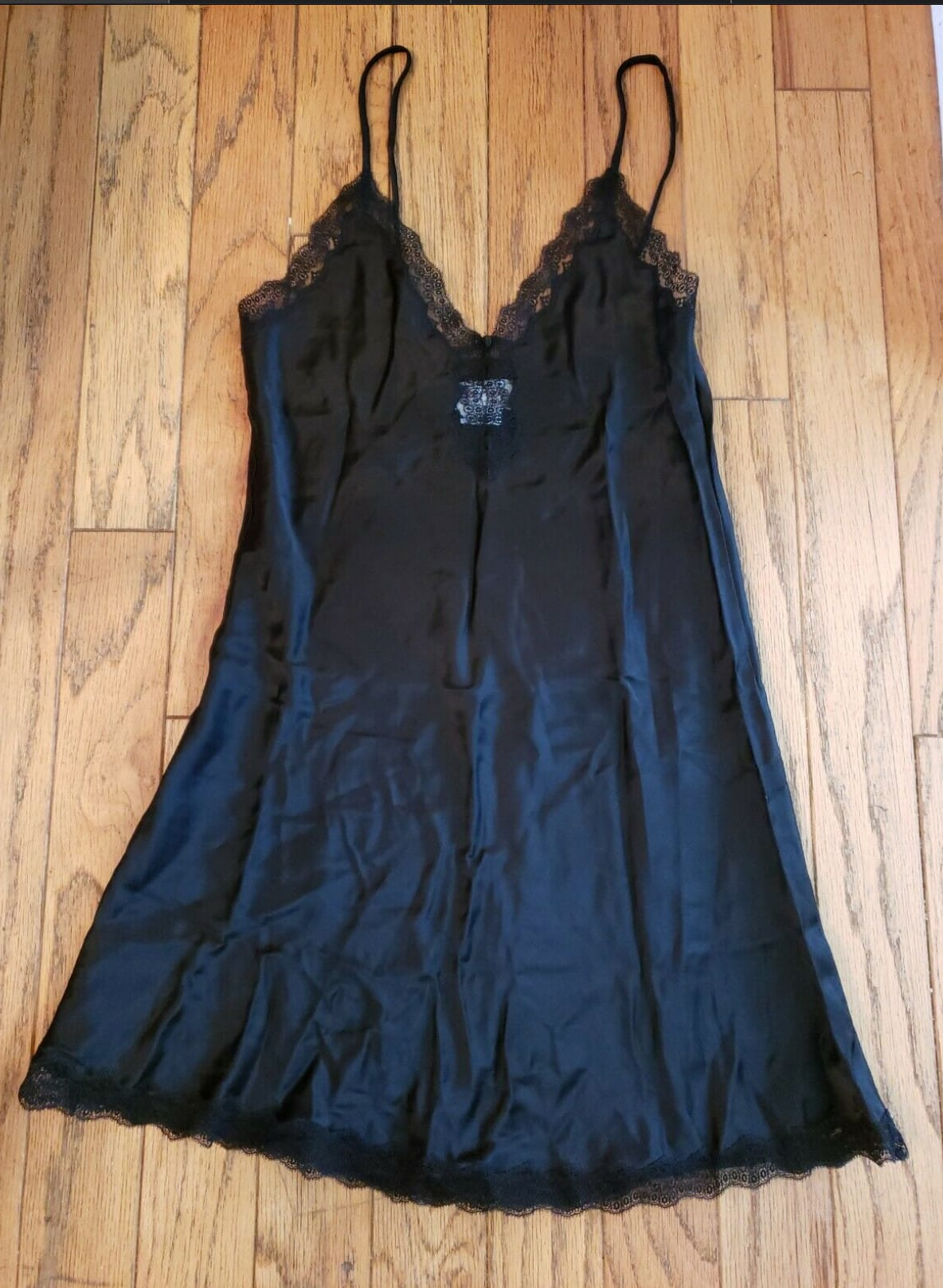 Vintage Ora Feder Silk Slip Camisole Lingerie Black With Lace Trim M