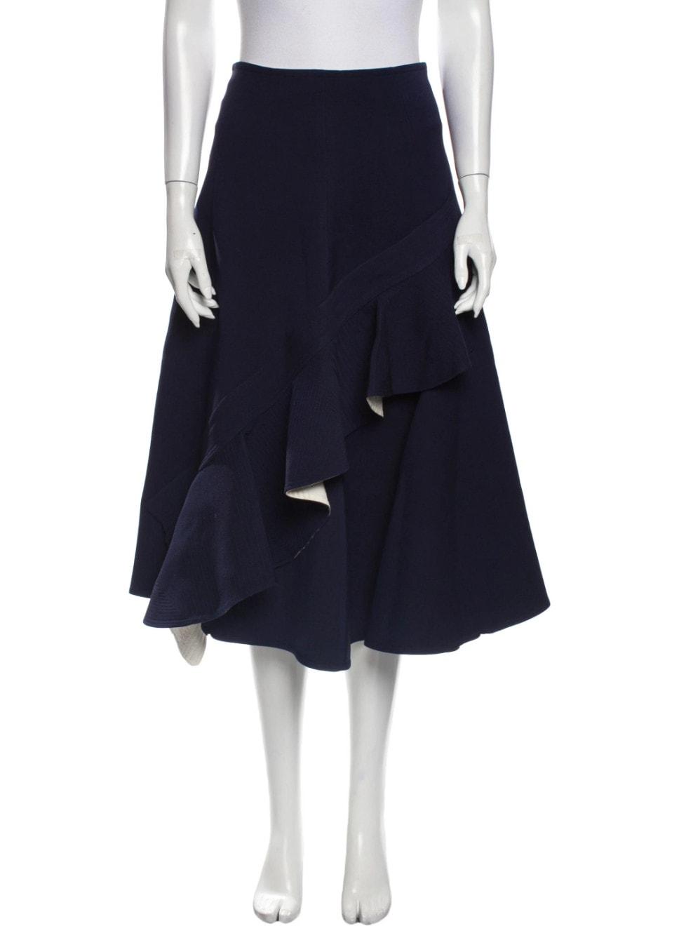 Wool Midi Length Skirt