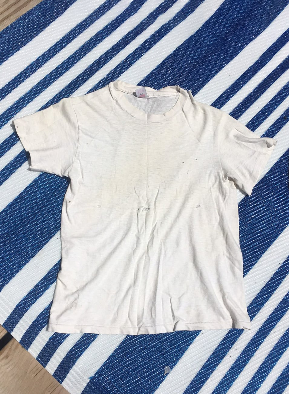 1960s Hanes t shirt single stitch 60s 50s 1950s buttery soft thin paper thin distressed super soft white XS S size extra small true vintage