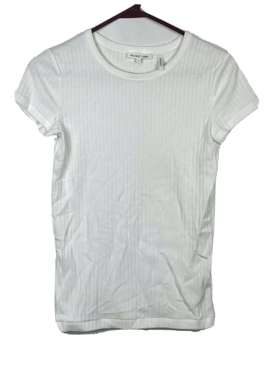 Helmut Lang Designer Womens Super stretch White Rib Baby Tee (Size S) MINT! *F