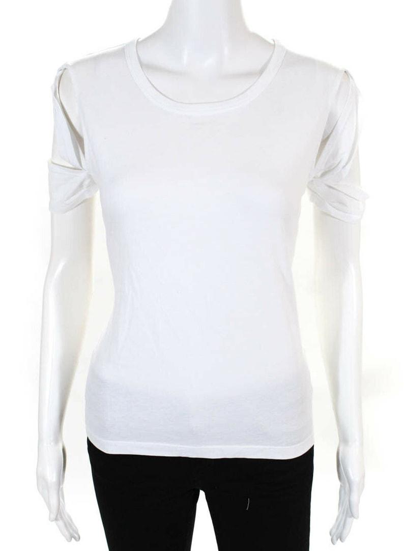 Helmut Lang Womens Cotton Short Sleeve Crewneck T-Shirt White Size Medium