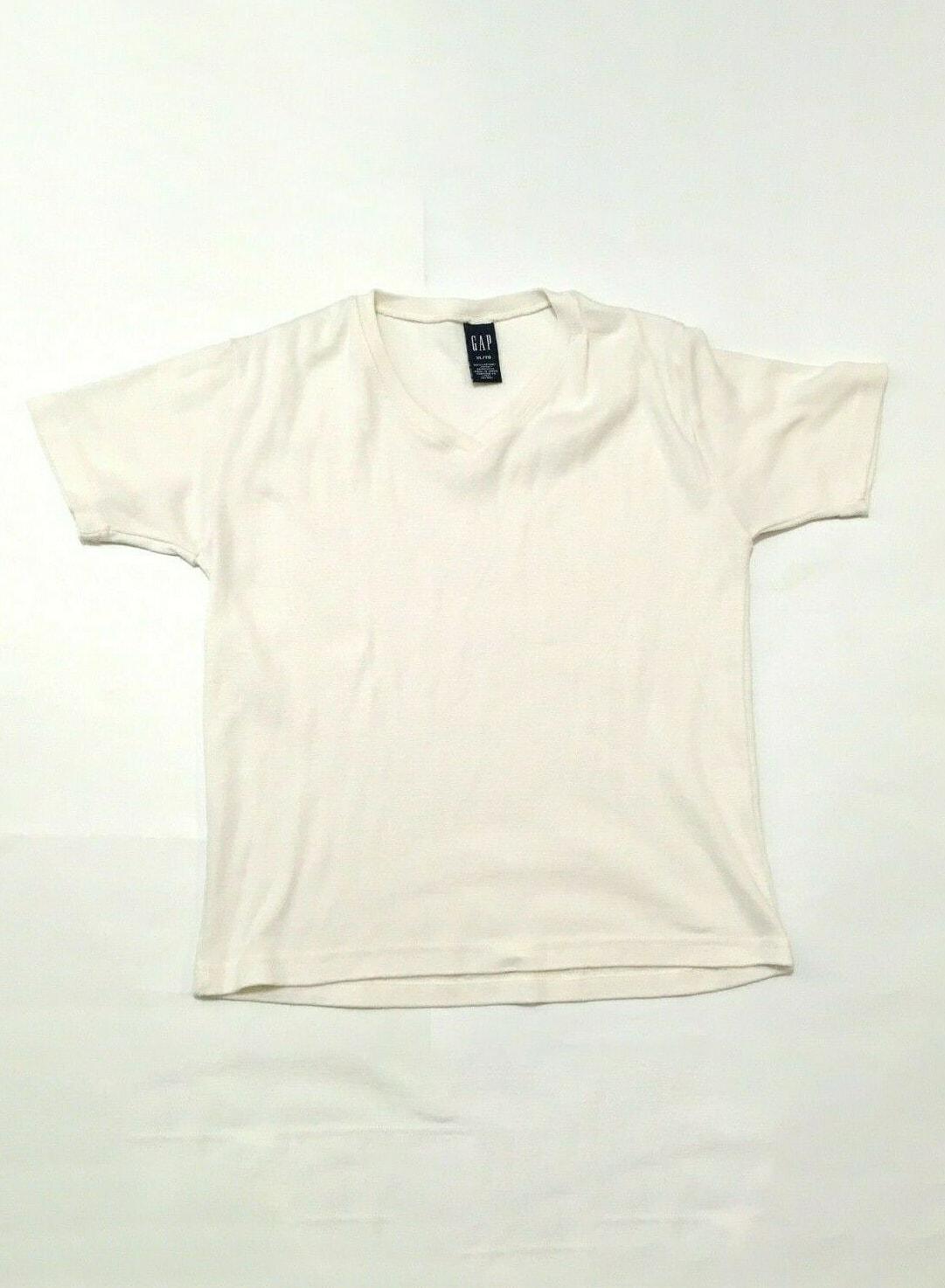 LOT (2) TWO The GAP Women Shirt XL White Grey V-Neck T-Shirts Vintage 1990s