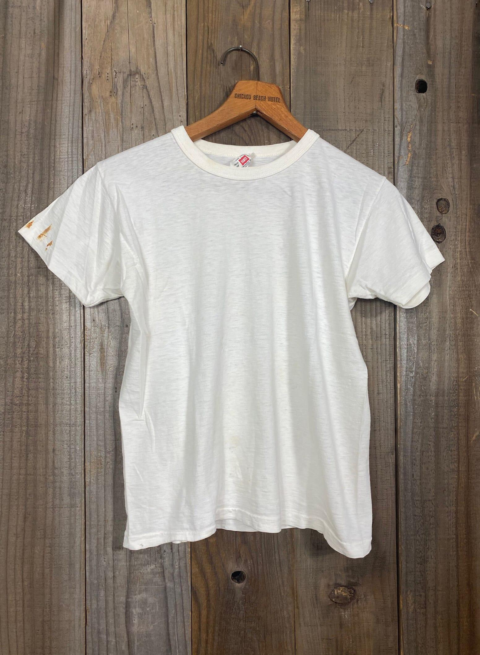 Vintage 1960's Hanes Ribbon Tag 100% Cotton Blank White Tee Shirt Boys 16