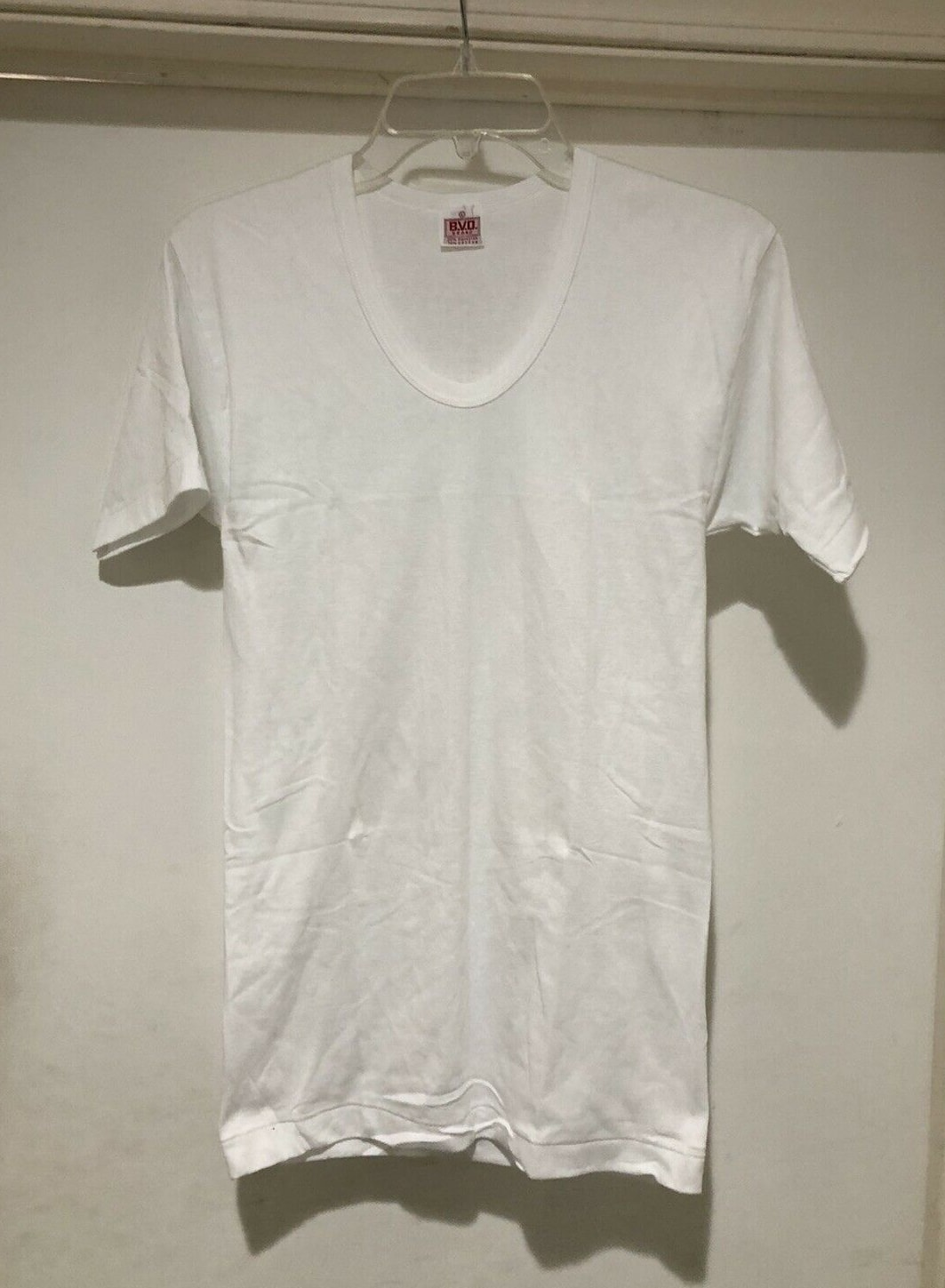Vintage 50s BVD Blank White V Neck T Shirt Size XS Made In USA DEADSTOCK NOS