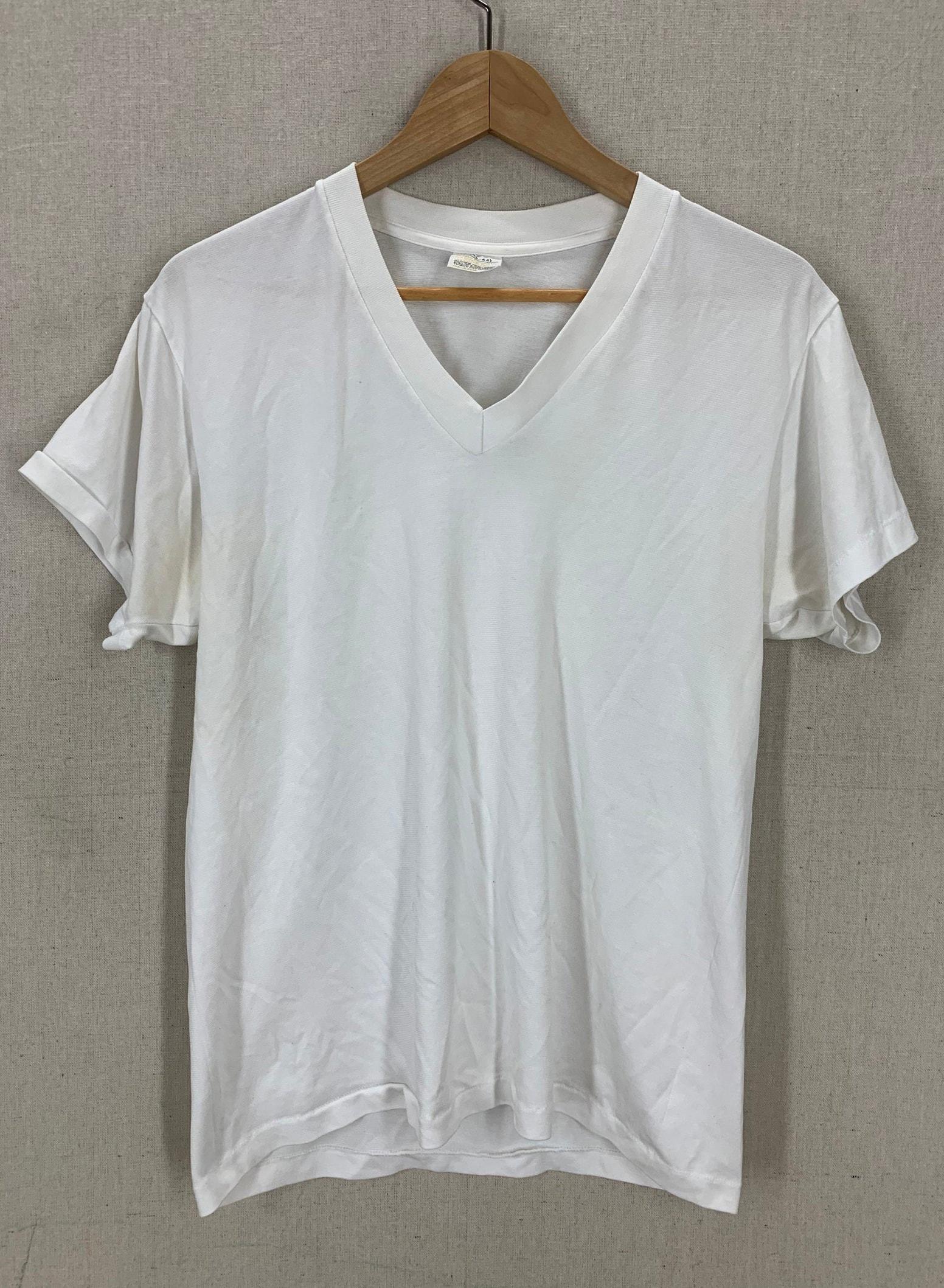 Vintage 80's Blank White Super Soft Thin Distressed T-Shirt M