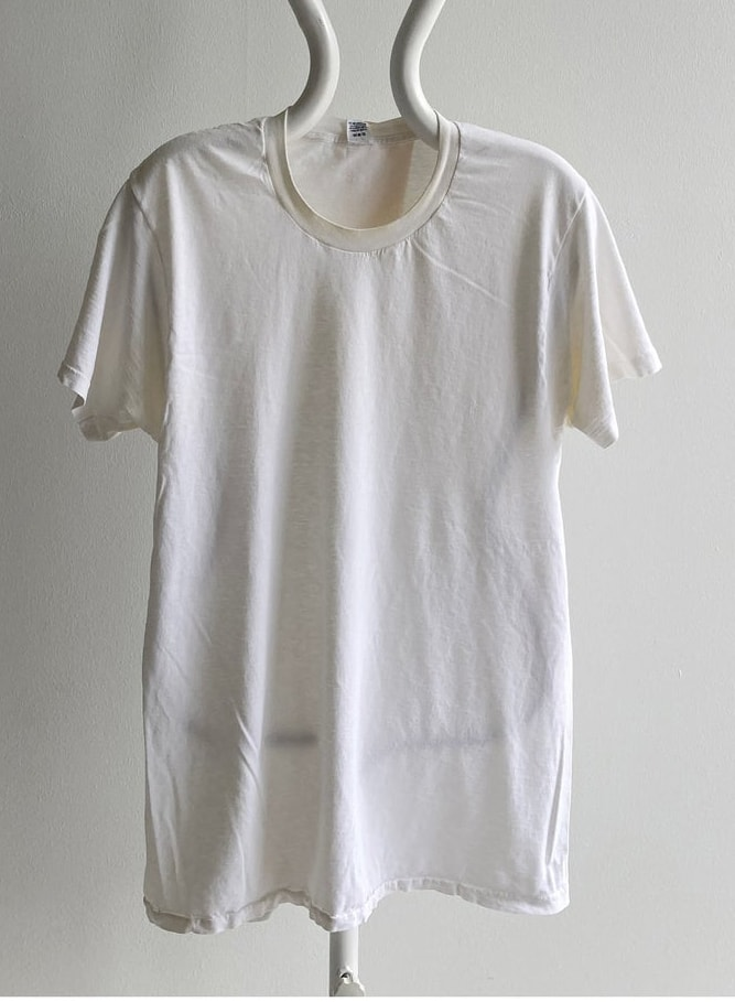 Vintage 80s Jockey Tall Blank White Combed Cotton (SO SOFT) Longer Ecru with Age Blank White T-Shirt