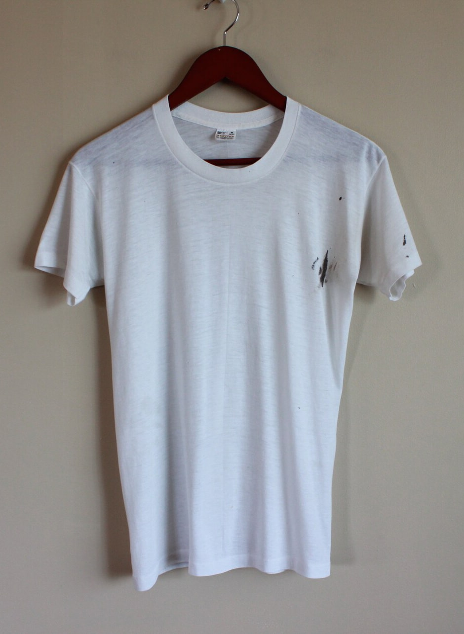 Vintage 80s Paper Thin White T-Shirt. Paint Stains. Perfectly Worn. Mervyn's. Size Medium. 50-50. Made In USA. Punk. Noise Rock. Soft