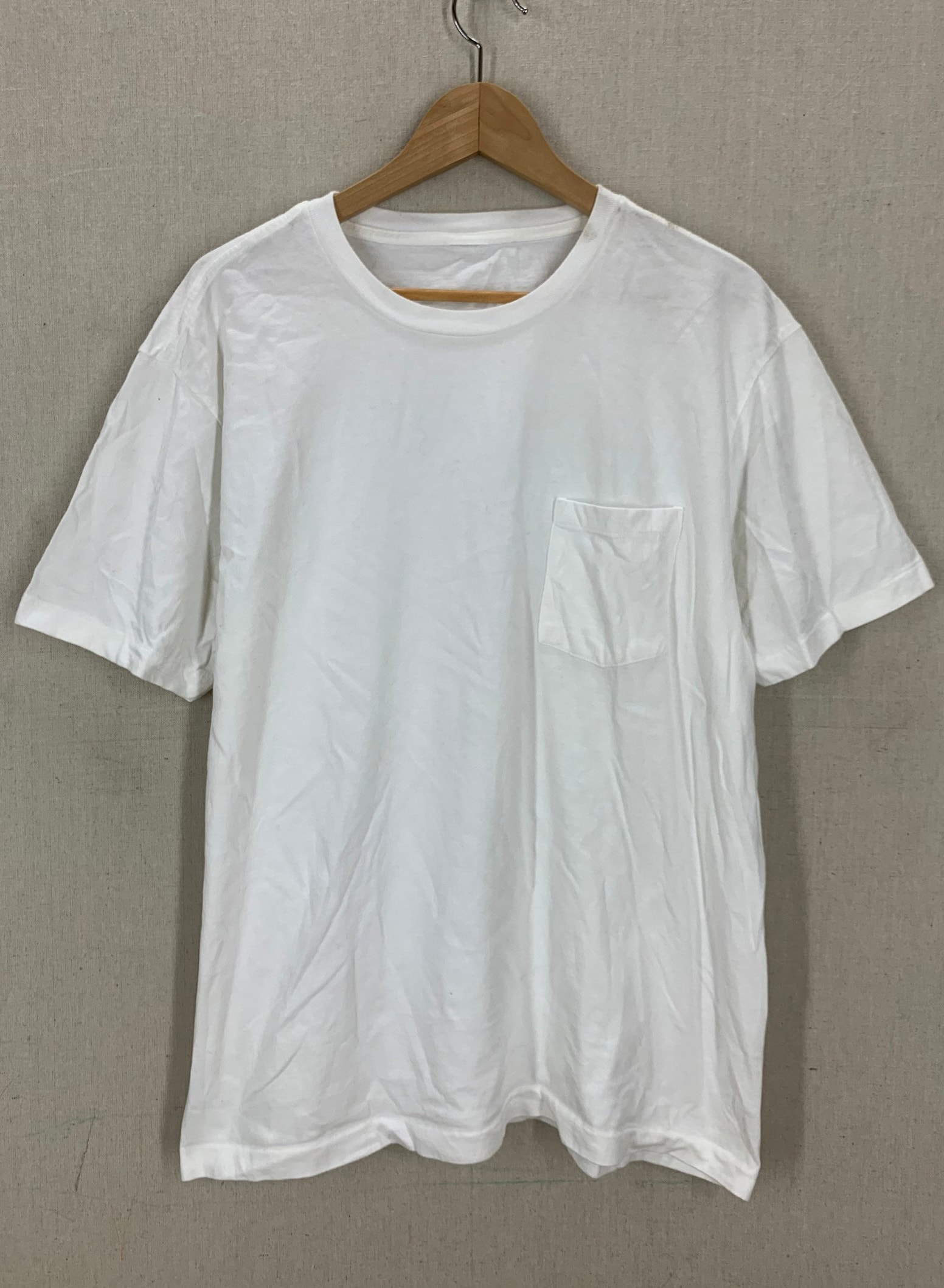 Vintage 90's Blank White Single Stitch Pocket T-Shirt XL