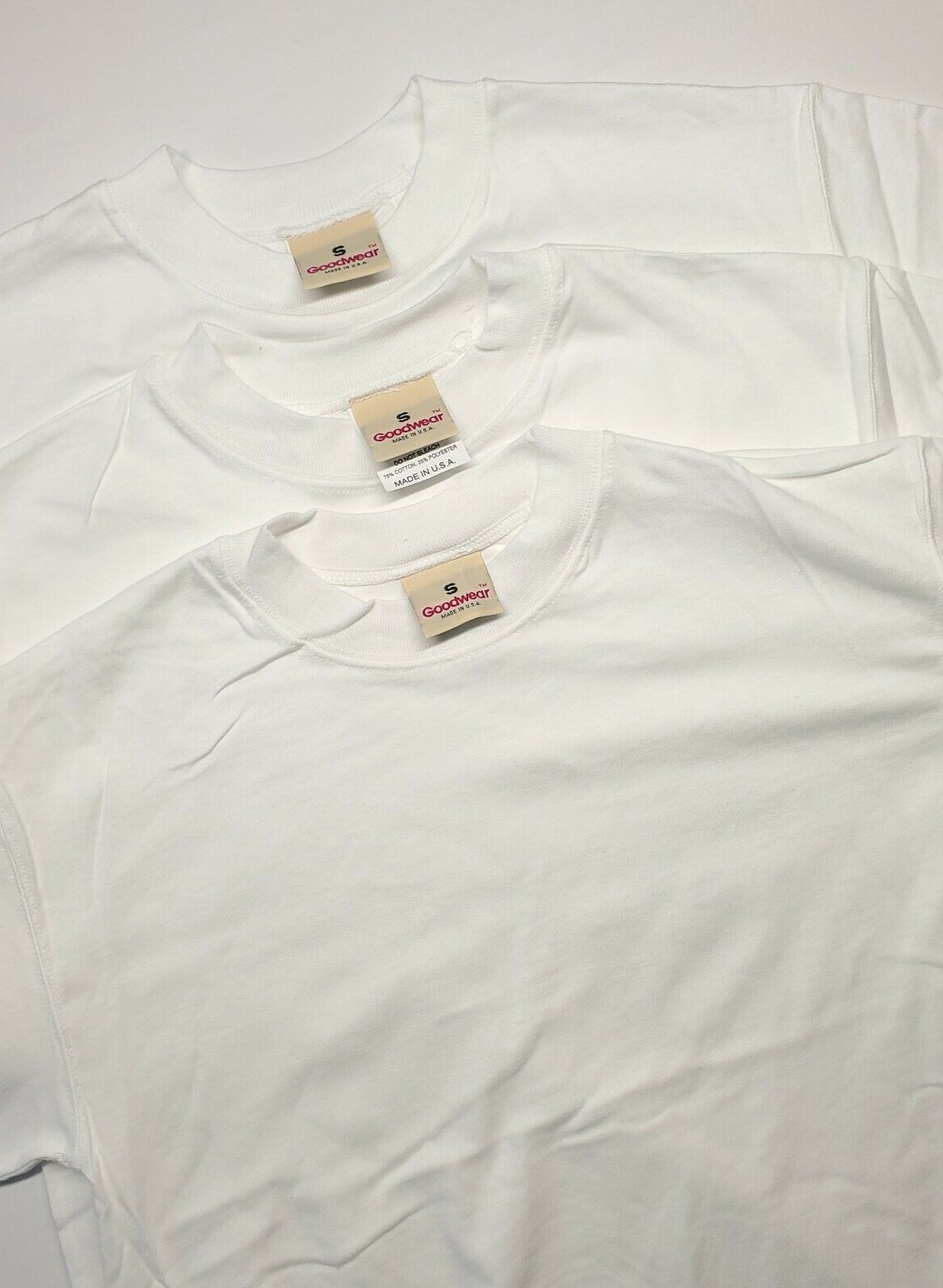 Vintage 90s Deadstock NOS Blank T Shirt Lot Of 3 Sz Small White USA Goodwear