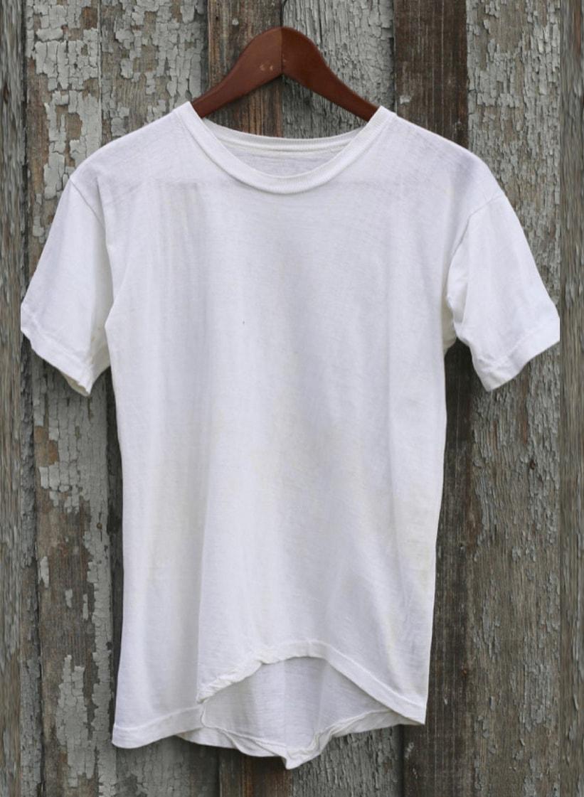 Vtg 50s 60s 70s Single Stitch White Blank Tee T shirt Distressed Worn Holes XXS XS