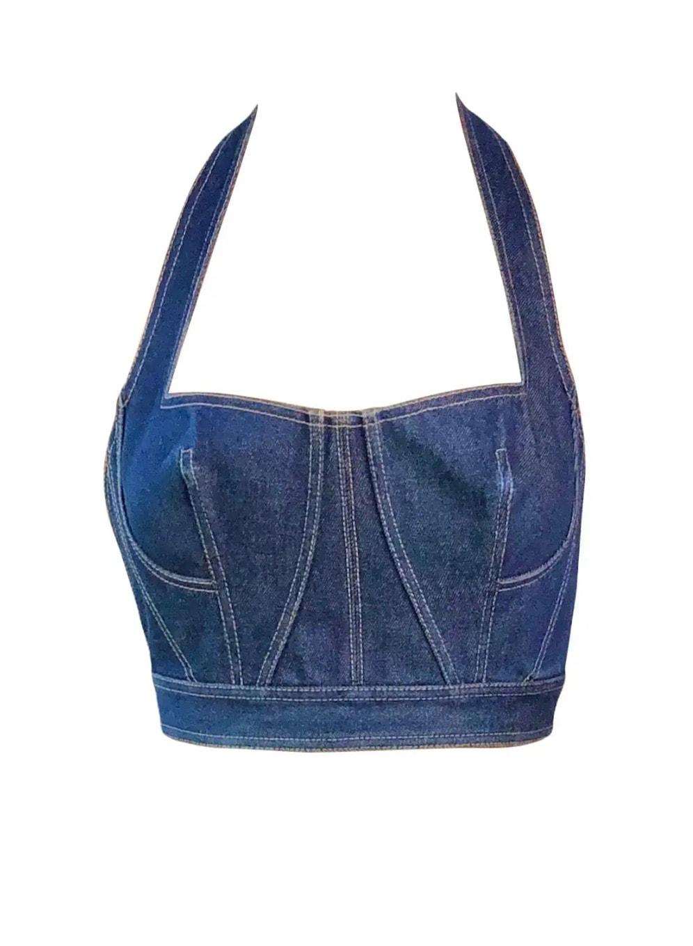 Azzedine Alaia S_S 1991 Runway Vintage Blue Denim Backless Bra Bralette Crop Top