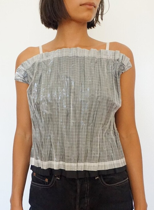 Issey Miyake Double Layered Pleated Structured Tank Top Pleats Please Checkered