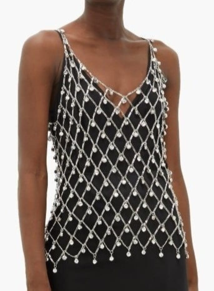 Paco Rabanne Vintage Chainmail Beaded Sleeveless Top Costume_Cos Play_ sz S_M