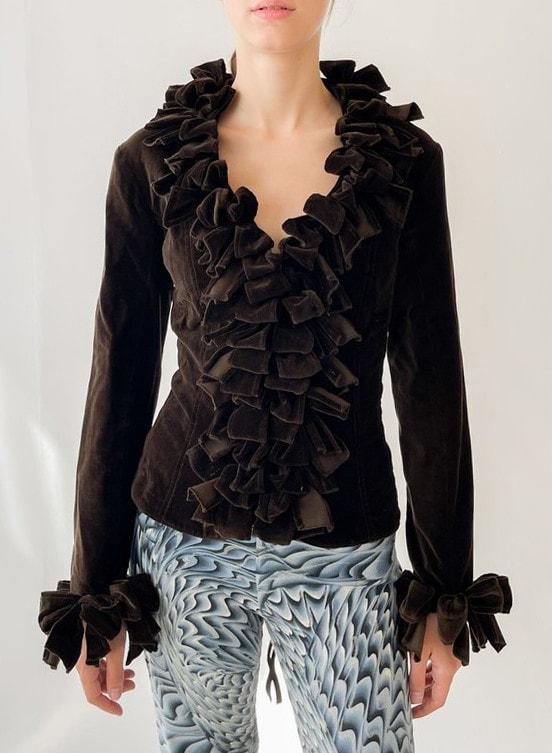Vintage Anne Fontaine velvet Ruffle Jacket - cocoa