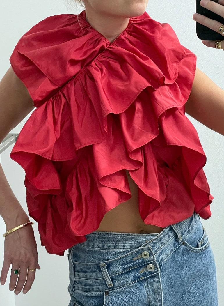 Vintage Red Ruffled Scarf Top vintage scarf top statement _ Etsy