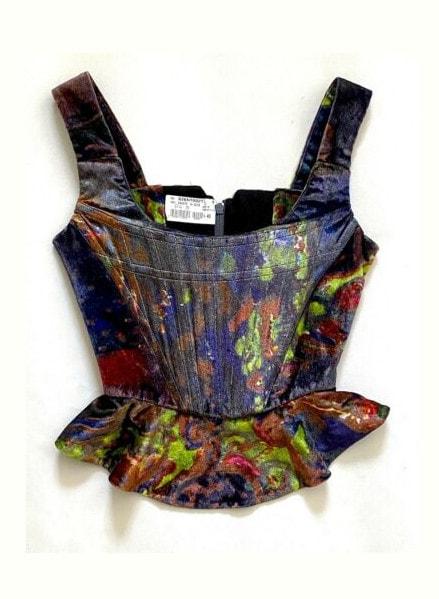 Vivienne Westwood Attributed Watercolor Velvet Zip Corset Peplum Women Size 40