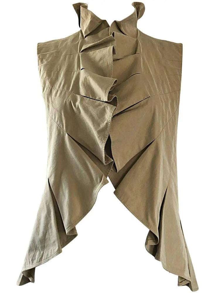 Yves Saint Laurent Size 40 _ US 8 Khaki Tan YSL Cotton Safari Ruffle Vest Top