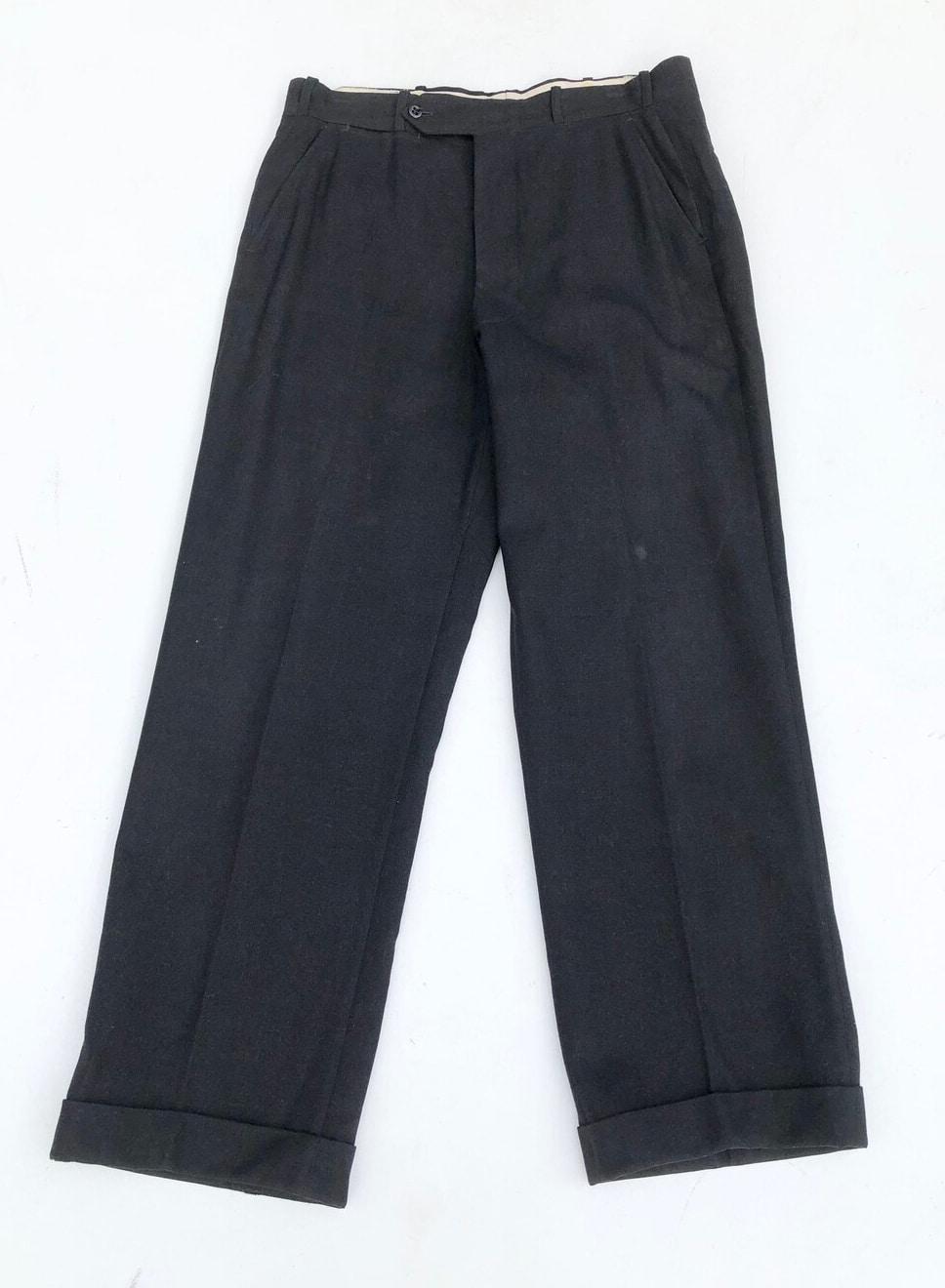 "1940s Black Wool Dress Trousers 32"""