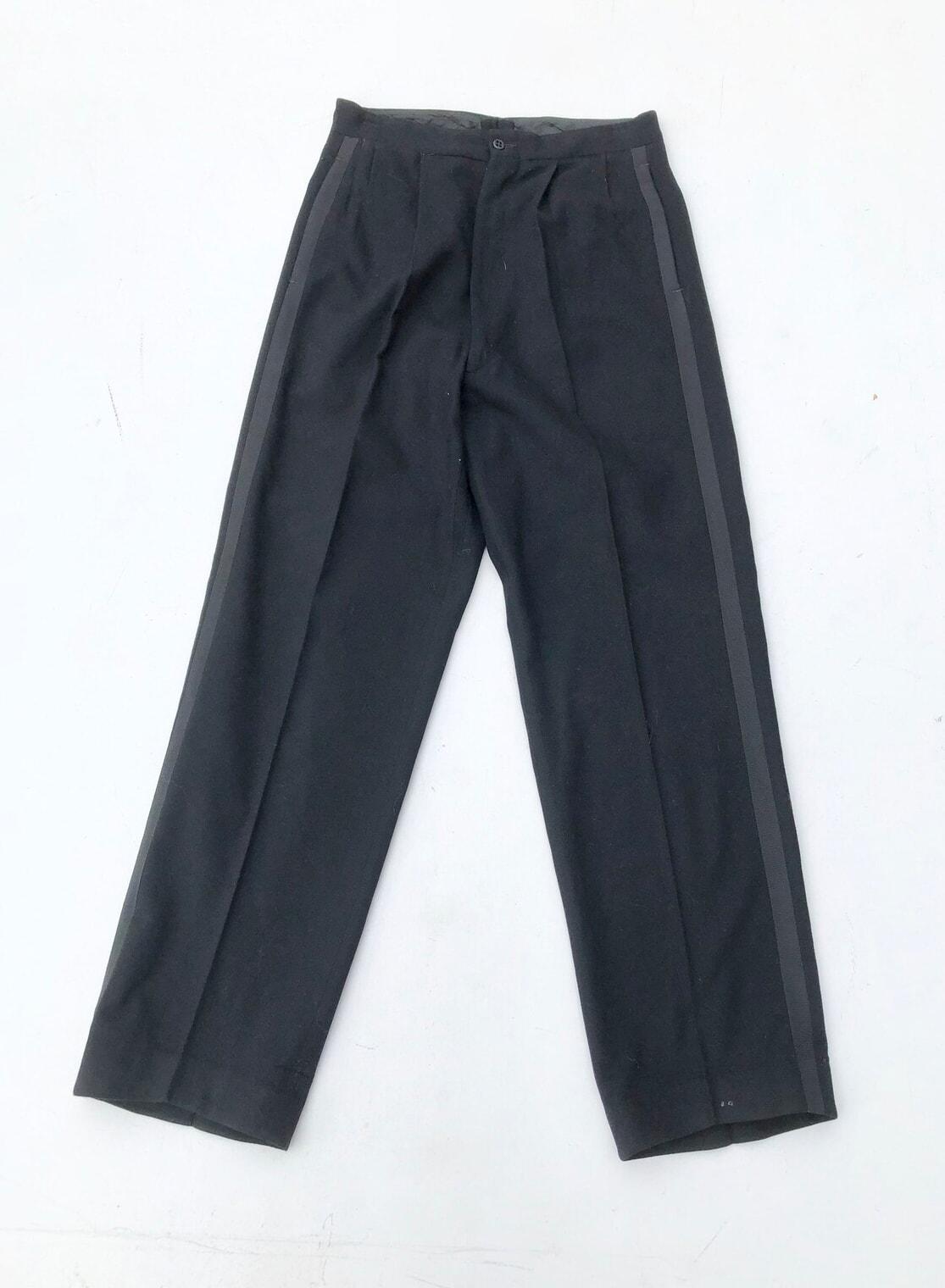 "1950s Black Wool Tuxedo Pants 27"""