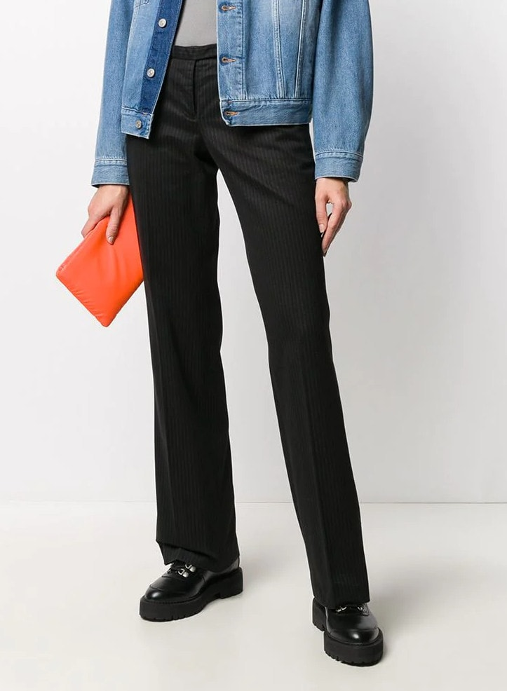 2000s pinstripe bootcut trousers
