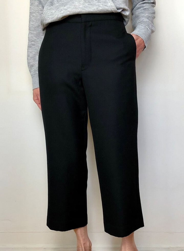 2000s vintage Yohji Yamamoto cropped trousers 90s Y2K Japanese designer black wool pants size 1 XS S