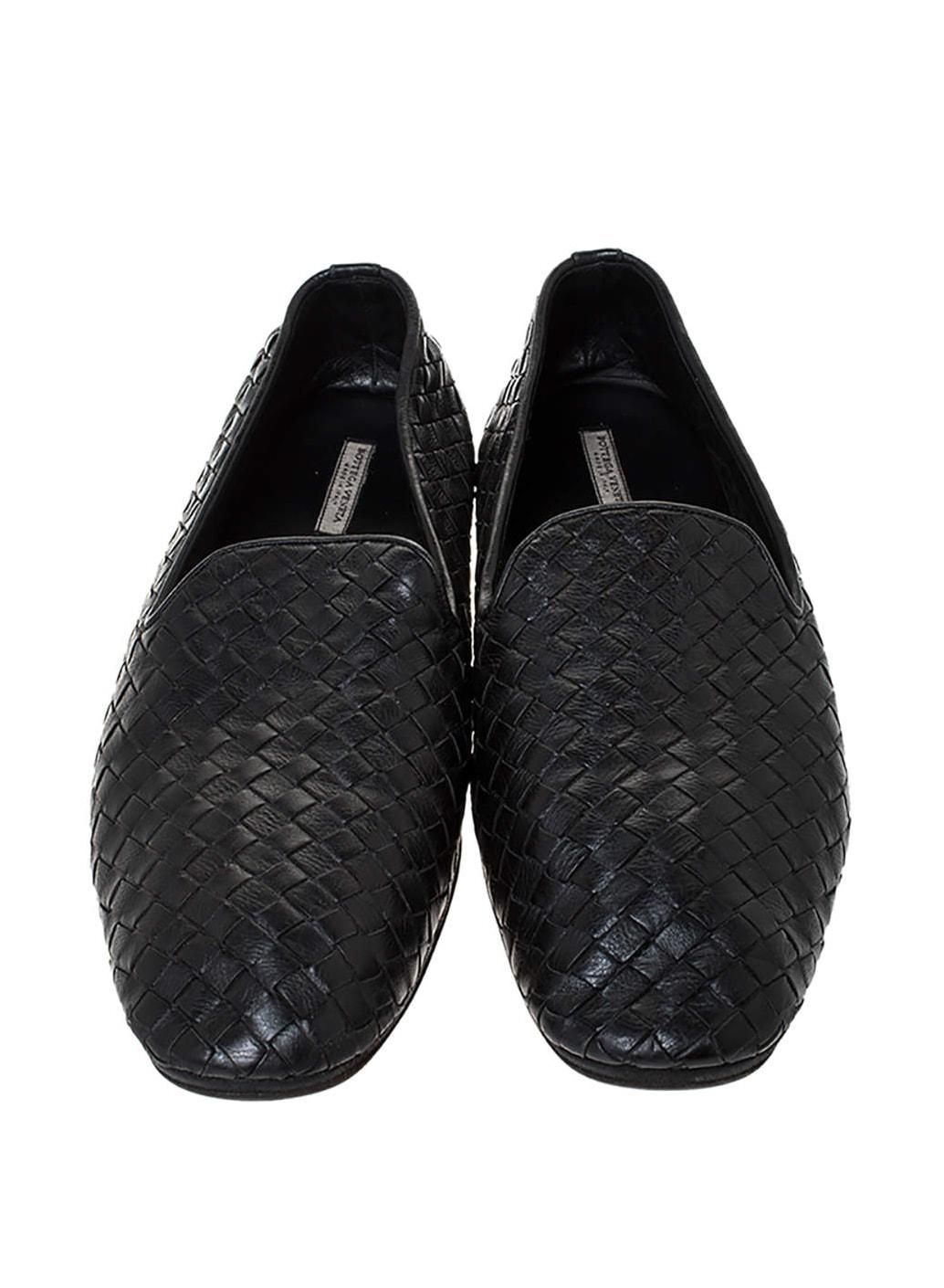BOTTEGA VENETA Bottega Veneta Black Intrecciato Leather Smoking Slippers Size 41