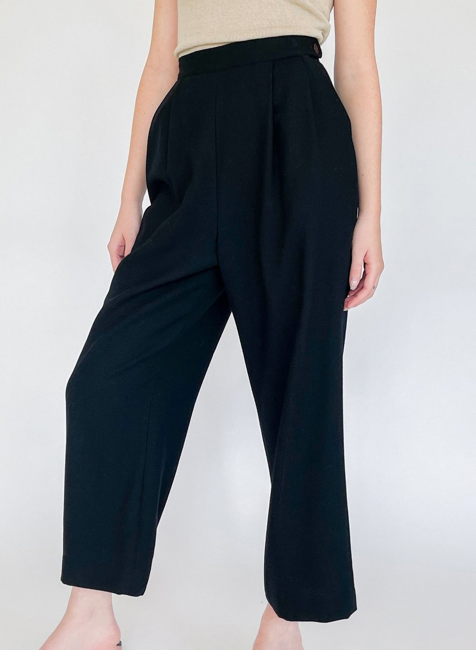 Black High Rise Pleated Trousers