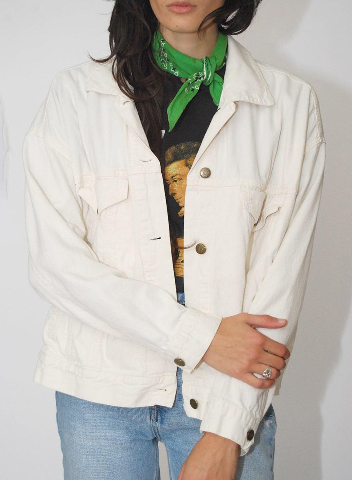 Lightweight Denim Jacket (10) vintage 90s dkny women ivory white jean trucker oversize