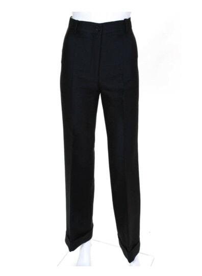 Marni Womens Wide Leg Cuffed Dress Trousers Black Wool Size EUR 40