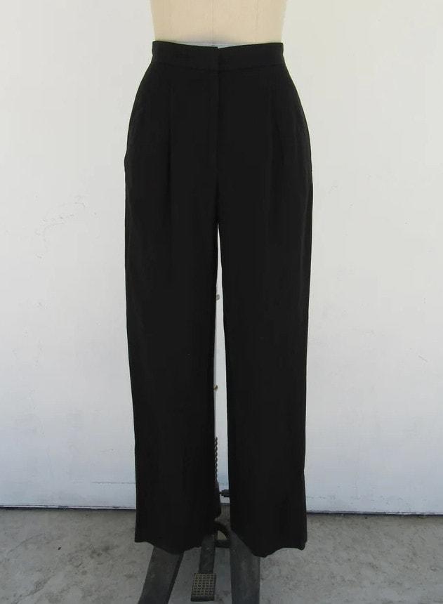 PETITE 90s DKNY Black Linen Blend High Waist Pleated Trousers _ Minimal Black Linen Pants Slacks _ 25 Waist