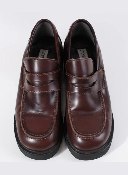 Read the full title Vtg 90s STEVE MADDEN Newt Chunky Platform Brown Leather Loafer Shoes Women's Size USA 6 - 6_5 - 7 - 9_ insole