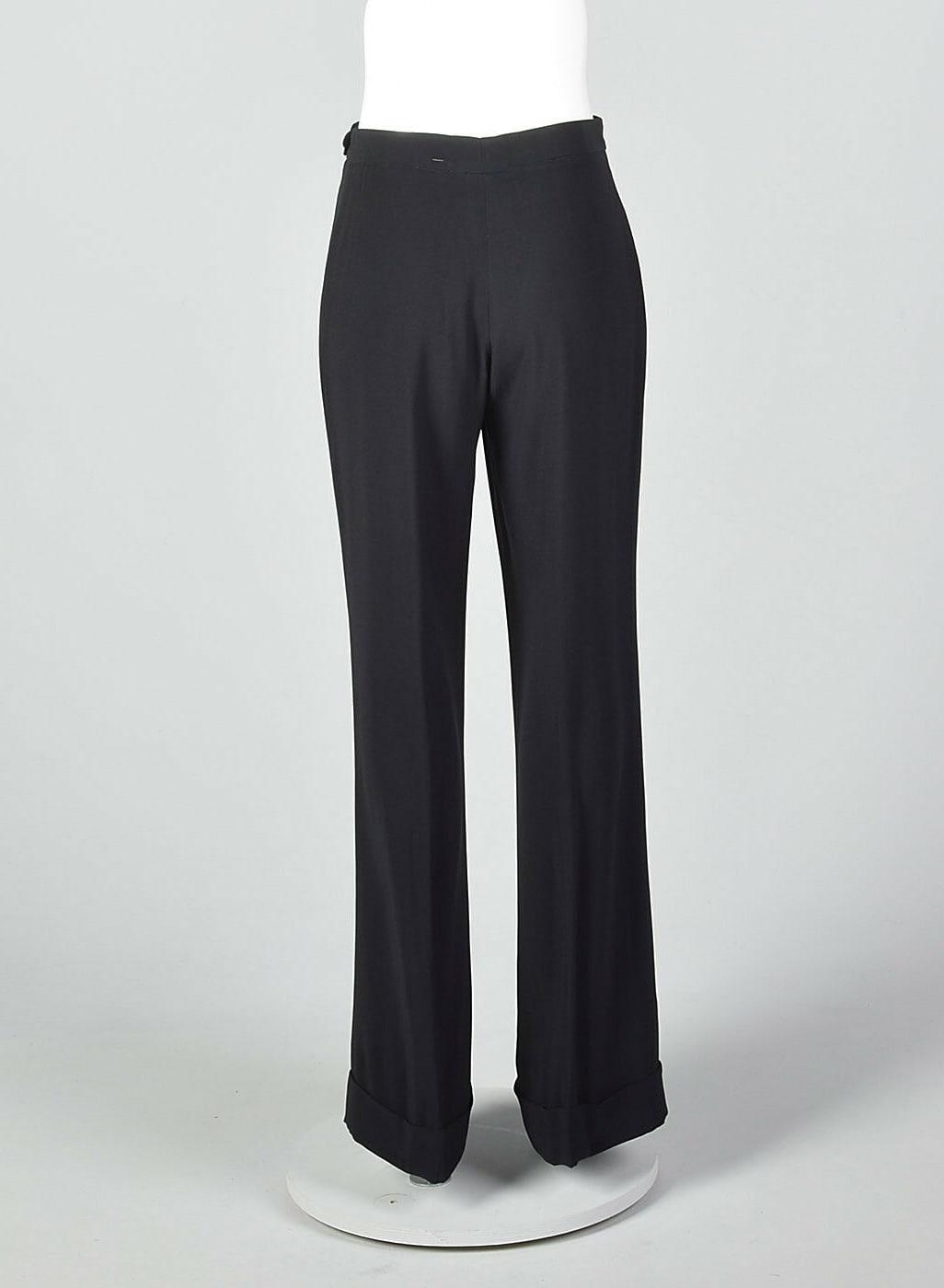S 2010s Maison Margiela Black Straight Leg Pants Cuffed Hem Trousers Separates