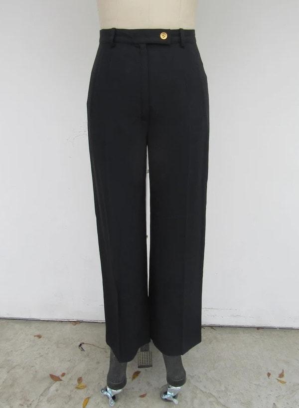 Sonia Rykiel Black Wide Leg High Waist Trousers _ Dark Academia Aesthetic Black Flare Trousers Pants _ 29 Waist