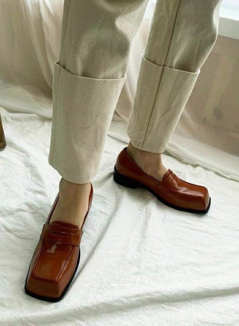 Square toe shoes, vintage Style derby shoes women's loafer US8