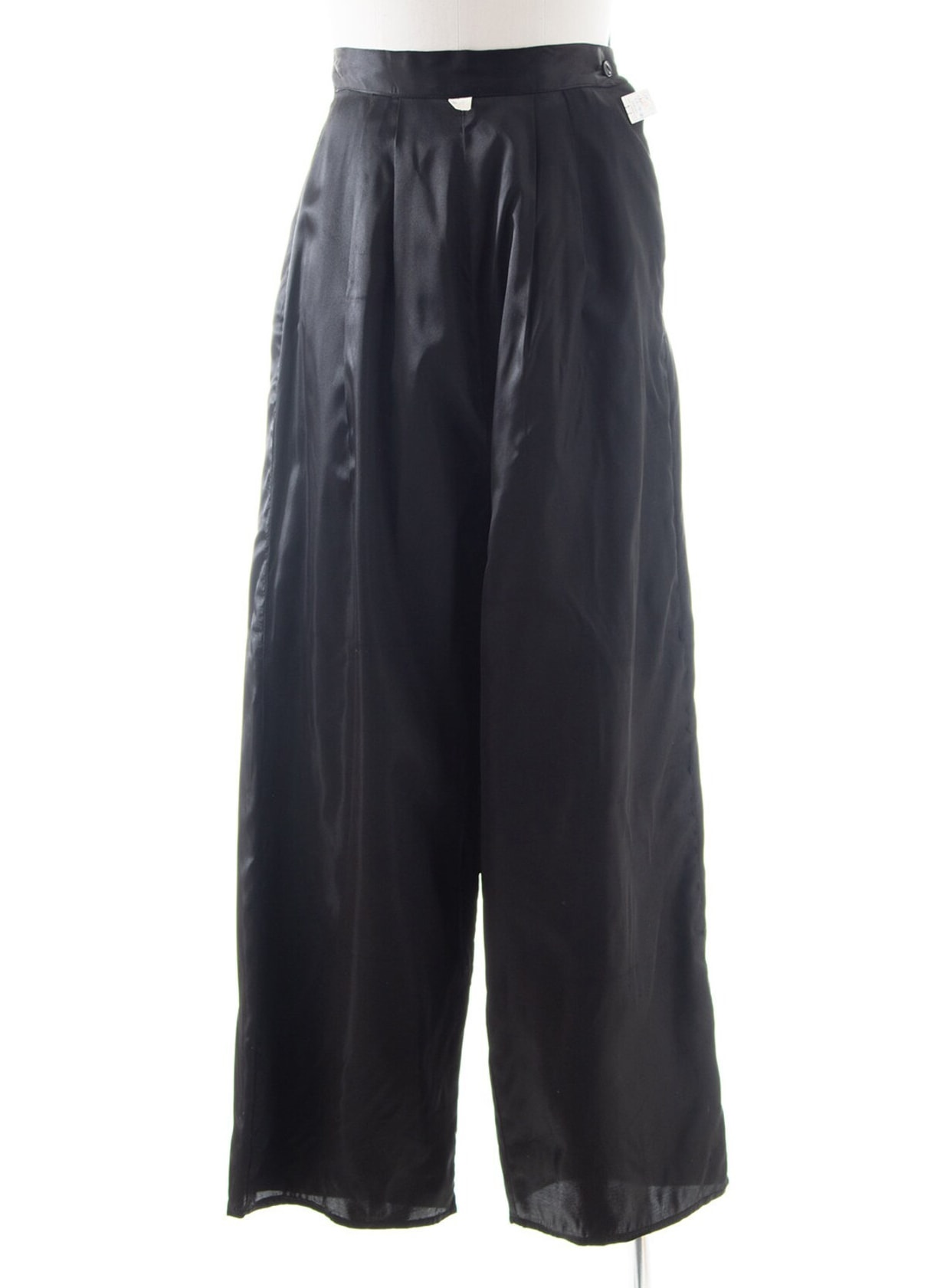 Vintage 1940s Pants | 40s DEADSTOCK with Tags Black Satin High Waisted Wide Leg Evening Party Trousers (small)