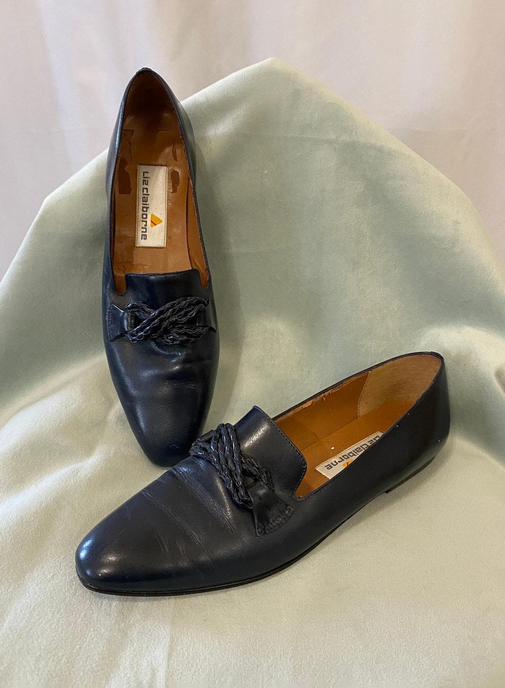 Vintage 1980s Navy Blue Liz Claiborne Leather Flats, 8N