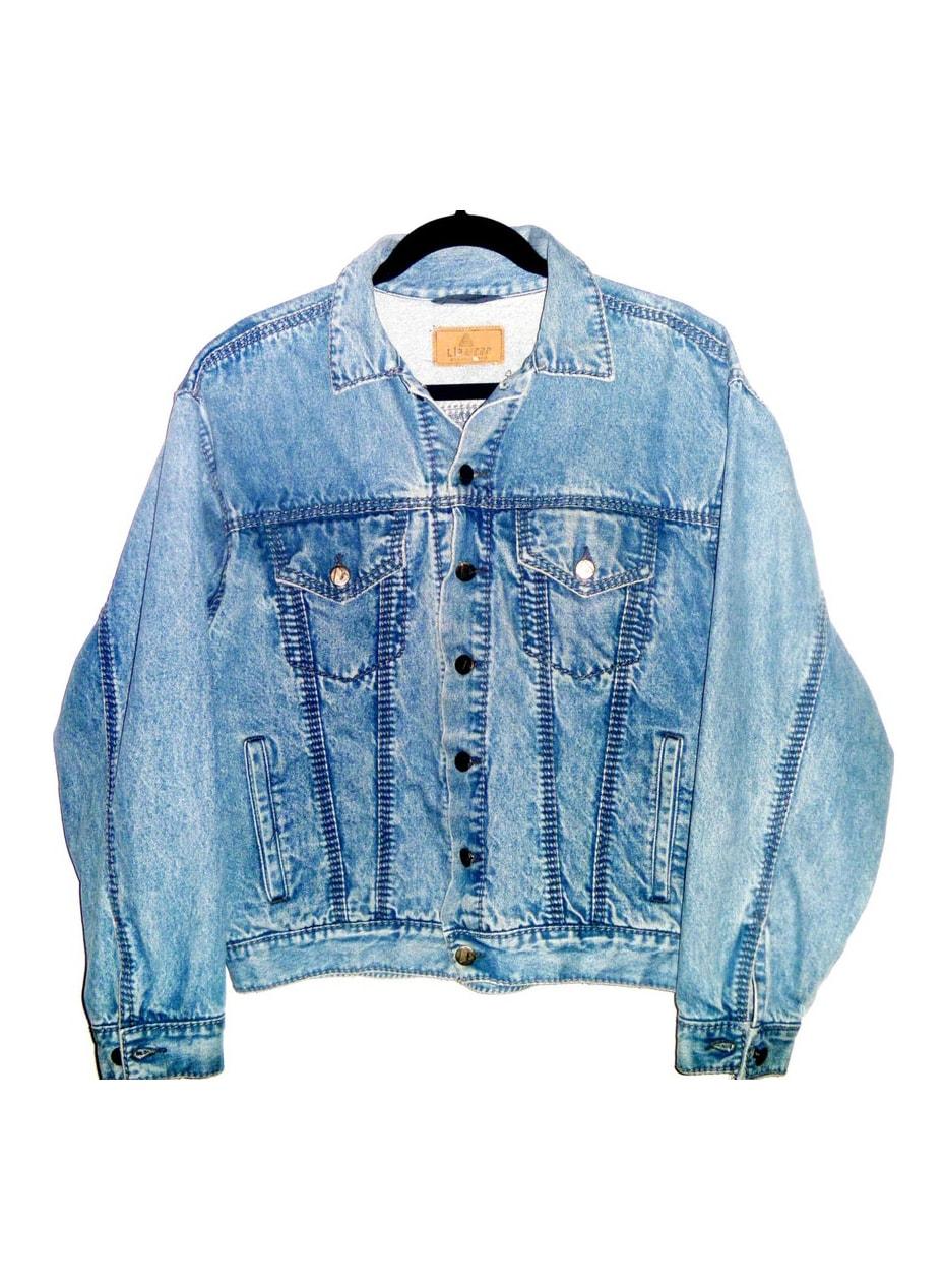 Vintage 90's Denim Jean Jacket with Heavy Denim Thread Accents on Stripes from Pockets by Liz Claiborne