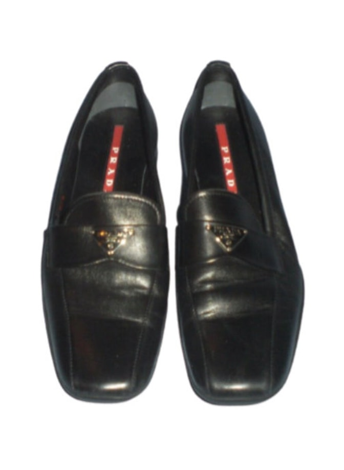 Vintage 90's PRADA Monogram Black Leather Loafers Slip On Shoes eu 37.5 : 7 - 7