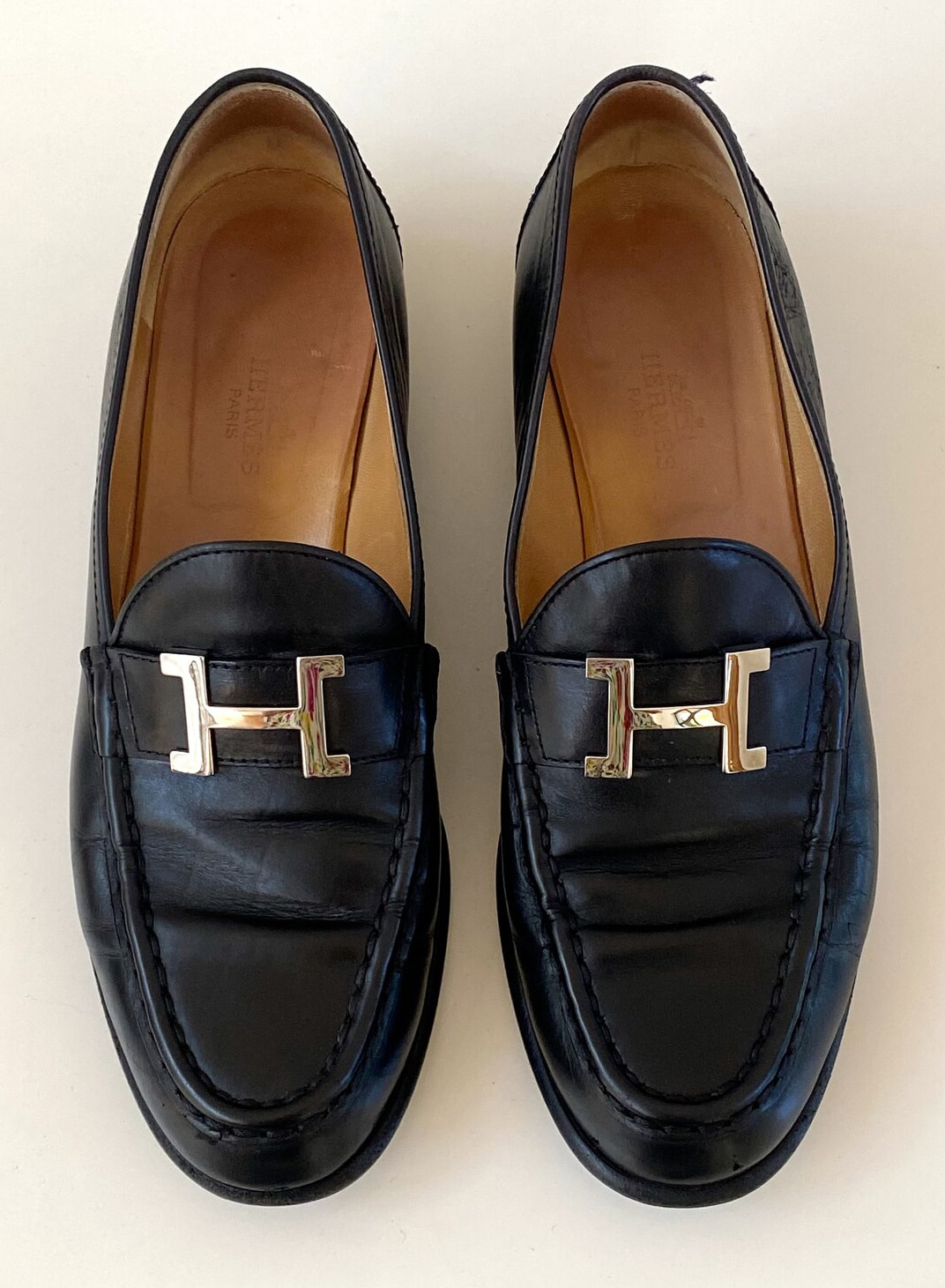 Vintage HERMES H Logo Silver : BLACK Leather Loafers Driving Flats Shoes It 38.5 us 8 - 8