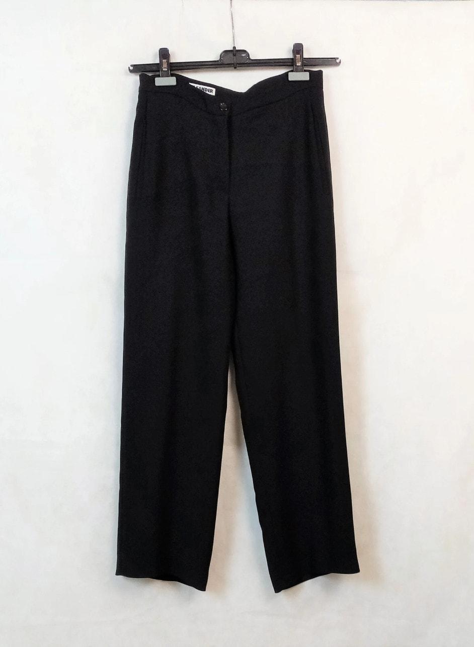 Vintage Jil Sander Women's Black Polyester Straight Pants Trousers, Size 36
