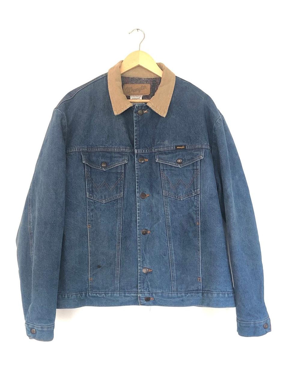 Vtg 80s DENIM:Jean Blanket Lined WRANGLER JACKET:Coat 46