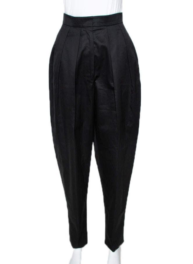 YVES SAINT LAURENT Yves Saint Laurent Black Cotton Carrot Pants S